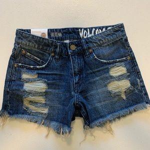 Volcom Stoned Shorts Cut Off Denim Jean Shorts
